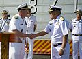 US Navy 101203-N-8825R-045 Vice Adm. Mark Fox, left, shakes hands with Royal Thai Navy Rear Adm. Chaiyot Sundaranaga aboard the Royal Thai Navy rep.jpg
