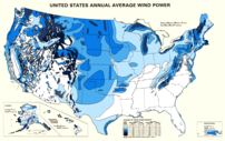 Map of available wind power for the United Sta...