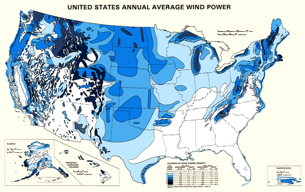 US wind power map
