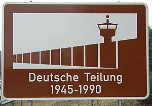 Tourist sign - Information sign commemorating the division of Germany