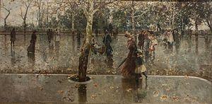 Michele Catti - Ultime foglie (Il viale della Libertà in una giornata di pioggia). 1906. Oil on canvas, 100 x 201 cm. Collection Galleria d'arte Moderna (Palermo).