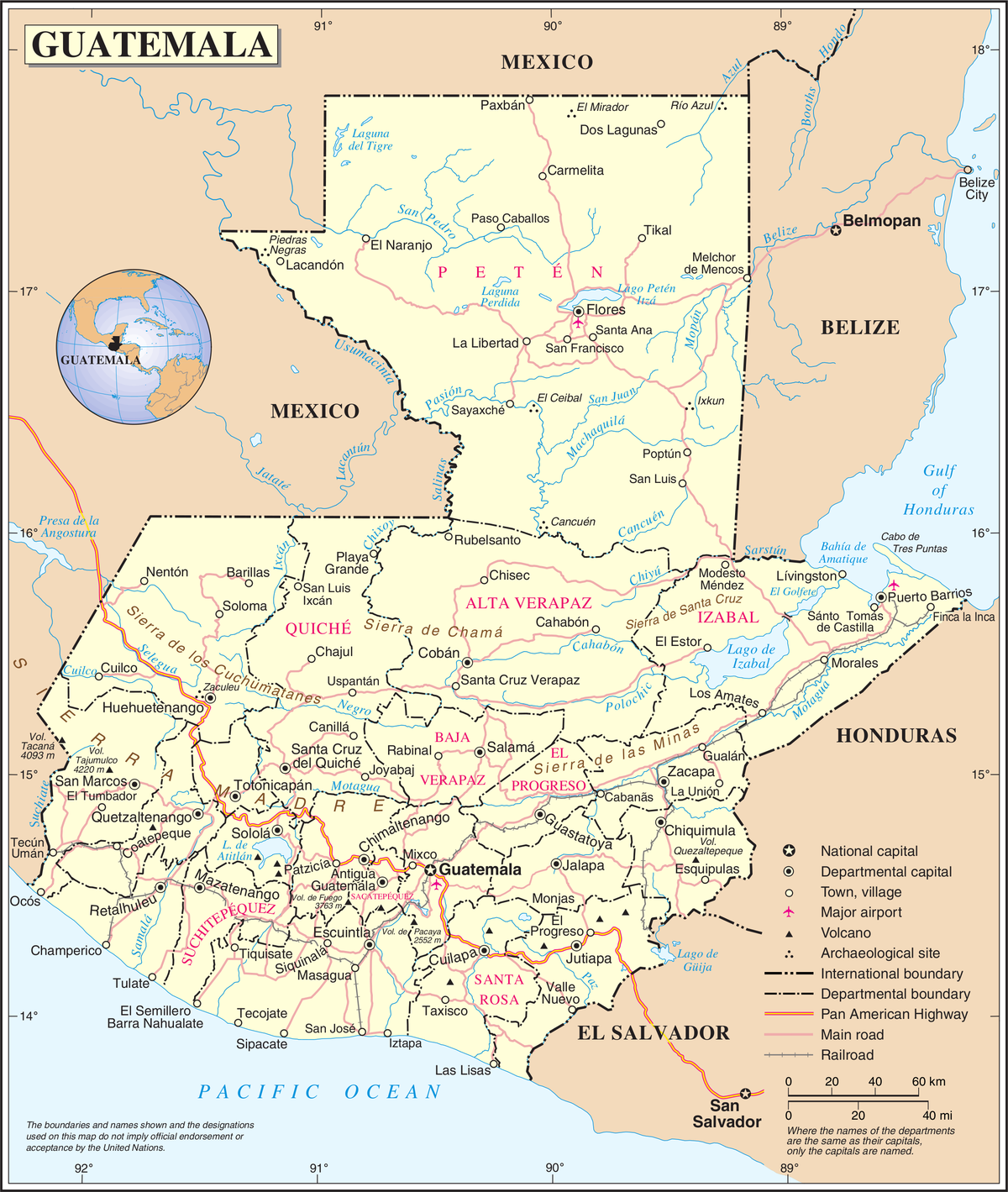 List Of Places In Guatemala Wikipedia - Departments map of guatemala
