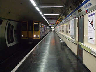 Northern City Line - A Class 313 train departing Moorgate.