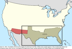 Map of the change to the international disputes involving the United States in central North America on April 12, 1861