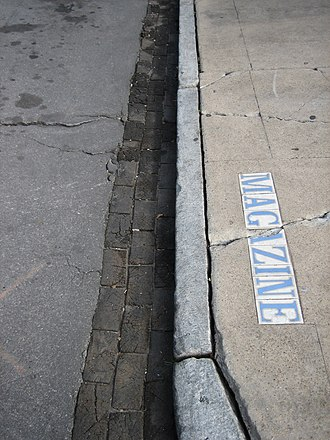 Curb - A curb with street name on the sidewalk in New Orleans