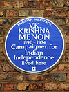 V.K. KRISHNA MENON 1896-1974 Campaigner for Indian Independence lived here.jpg