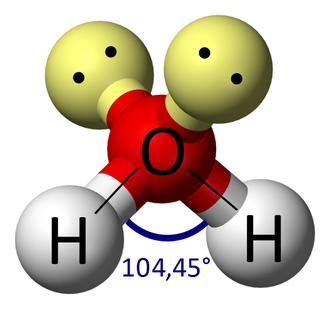 VSEPR theory - Example of bent electron arrangement. Shows location of unpaired electrons, bonded atoms, and bond angles. (Water molecule)  The bond angle for water is 104.5°.