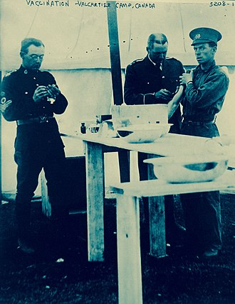 CFB Valcartier - Image: Vaccination at Valcartier Camp, Quebec, Canada, WWI (29569636885)