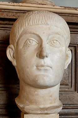 Bust of Valens, possibly Honorius. Marble, Roman artwork, beginning of 5th century.