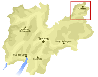 Fassa Valley - Location of the Fascia Valley (red box) in Trentino