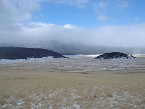 Valles Caldera - Cerro la Jara (right) in Valle Grande in winter.