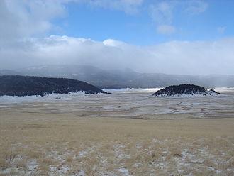 Valles Caldera - Cerro la Jara (right) in Valle Grande in winter.