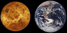 Comparación de los tamaños de Venus y la Tierra.
