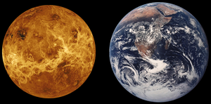 Colonization of Venus - Scale representations of Venus and the Earth shown next to each other. Venus is only slightly smaller.