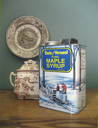 Vermont maple syrup Vermont maple syrup in a tin issued by the Vermont Maple Sugar Makers Association.jpg