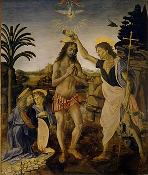 Andrea del Verrocchio - The Baptism of Christ. 177 x 151 cm.  Assisted by Leonardo da Vinci.  Uffizi Gallery, Florence