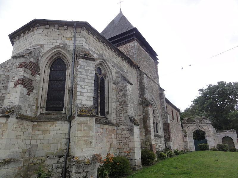 Vesles-et-Caumont (Aisne) église et porche fort