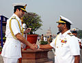 Vice Admiral Jayantha Perera greeted by Chief of the Naval Staff Admiral RK Dhowan at South Block, New Delhi.JPG