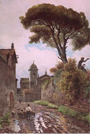 "San Caio - The church of San Caio, as seen down the Vicolo di San Nicola da Tolentino (Ettore Roesler Franz, ca. 1880), painted as part of a series depicting Roma sparita — ""forgotten Rome""."
