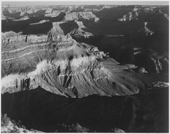 "View, dark shadows in foreground and right, framing cliffs at left and center, ""Grand Canyon National Park,"" Arizona., 1 - NARA - 519897.tif"