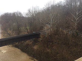 Buckingham Branch Railroad - Image: View of a BB Railroad Bridge from the route 15 bridge crossing the James River looking SE