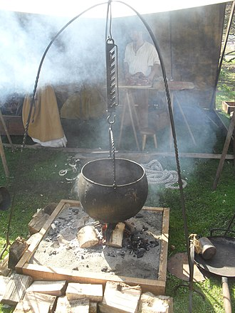 Cookware and bakeware - Replica of a Viking cooking-pot hanging over a fire