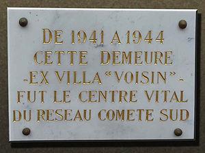 Comet line - Commemorative plaque on Villa Voisin at Anglet, Pyrénées-Atlantiques department of southwestern France