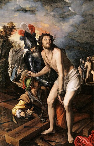 Vincenzo Campi - Vincenzo Campi, Christ Nailed to the Cross, 1577, oil on canvas, 210 x 141 cm, Museo del Prado, Madrid