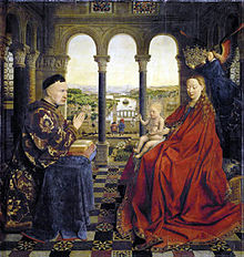 The painting shows the Virgin Mary (on the right) crowned by a hovering Angel while she presents the Infant Jesus to the donor, Chancellor Rolin (to the left). It is set within a spacious Italian-style loggia with a rich decoration of columns and bas-reliefs. In the background is a landscape with a city on a river