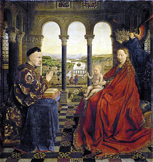 Madonna of Chancellor Rolin - Madonna of Chancellor Rolin, Oil on panel, c. 1435. 66cm x 62cm. Musée du Louvre, Paris
