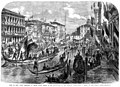 Visit of King Victor Emmanuel to Venice, State Barges of the Deputations of the Venetian Cities - ILN 1861.jpg