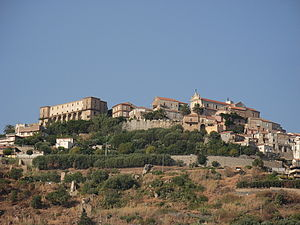 Nicotera - View of the upper town with the castle on the left.