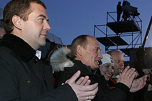 Russian presidential election, 2008 - Medvedev with Putin at a campaign event