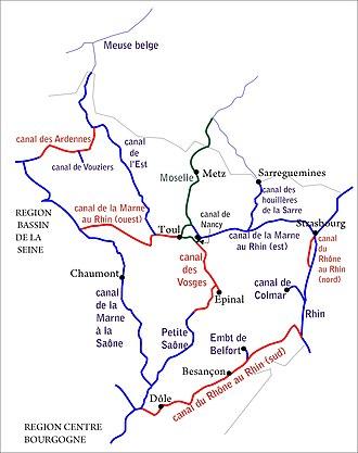 Canal de la Meuse - Canal de l'Est in the waterway network in eastern France.