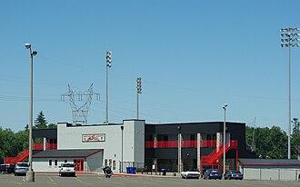 Volcanoes Stadium - Main grandstand in 2009