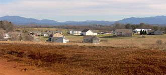 Vonore, Tennessee - A subdivision in Vonore, just off US-411, with the Great Smokies (left) and the Unicoi Mountains (right) in the distance