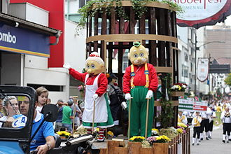 Oktoberfest of Blumenau - Granpa and Granma Chopão on a float at a parade during the Oktoberfest