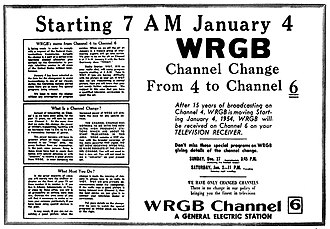 WRGB - WRGB's 1954 promo alerting viewers that the station would relocate to Channel 6 on the VHF dial beginning on January 4