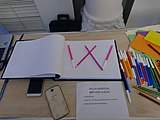 W like Wikipedia in a greetings book for 16th birthday of Wikipedia Polska.jpg