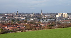 A view over central Wakefield, from Sandal Magna