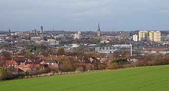 City of Wakefield - A view over central Wakefield, from Sandal Magna