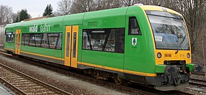 Railcar - The Regio-Shuttle RS1 low-floor vehicle is a modern version of a single unit railcar. Several of these can run together; articulated versions are also available.