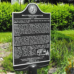 Wally Byam - Site marker of the founding meeting of the Wally Byam Caravan Club, in 1955 in Kentville, Nova Scotia, Canada. The plaque shows Alfred Letourneur towing an airstream trailer in 1947