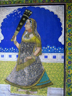 Dungarpur State - Painting on a wall of the Juna Mahal Palace