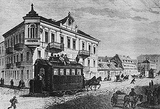Trams in Warsaw - Horse tram on Marszałkowska Street, 1867