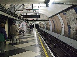 Waterloo tube stn Northern northbound look south
