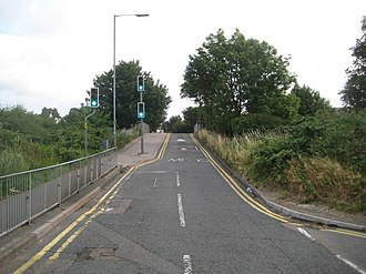 Watford Vicarage Road tube station - Vicarage Road railway bridge Looking northeast towards the hospital The site of the proposed station was to be on the left of the bridge