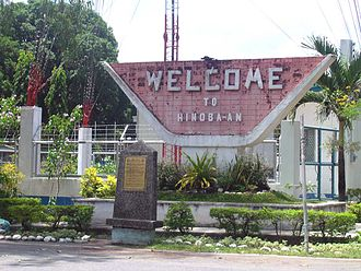 """Hinoba-an - """"Welcome"""" sign board along the highway"""