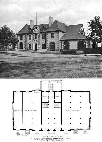 Weld Boathouse - Front view (seen from intersection of modern Memorial Drive and John F. Kennedy Street) with first-floor plan