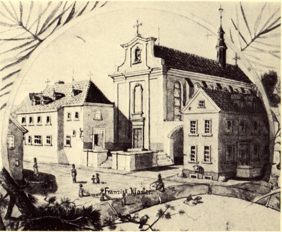 Werl, altes Kapuzinerkloster um 1880, Zeichnung von Adolf Stampfer